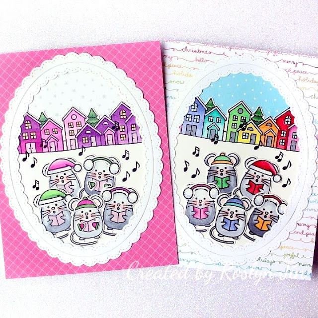 Sunny Studio Stamps: Merry Mice Scenic Route Customer Card by Rosyln Jin