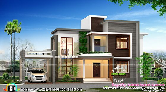 Box model modern flat roof house in 2200 square feet