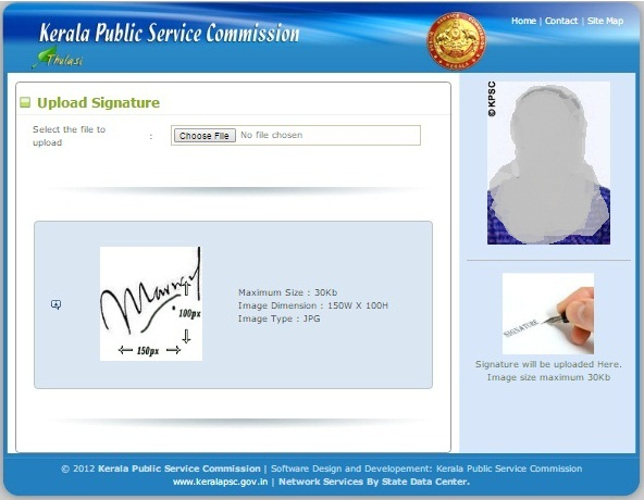 Kerala Psc Thulasi One Time Registration -Uploading Signature  - Step 6