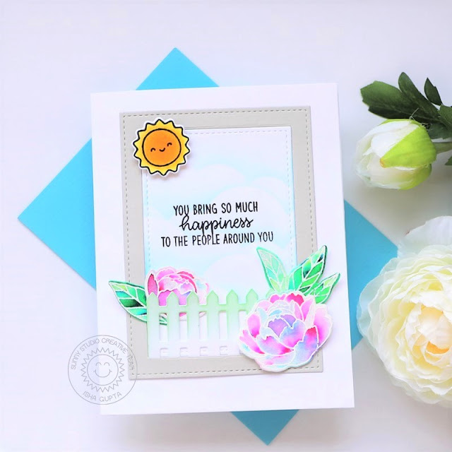 Sunny Studio Stamps: Stitched Rectangle Dies Pink Peonies Floating By Everyday Card by Isha Gupta