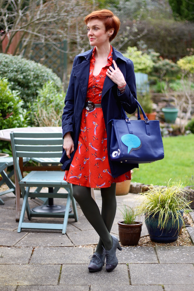 Fake Fabulous | Navy trench coat, vintage style dress and grey booties.