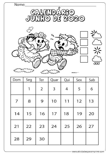 Calendário junho 2020