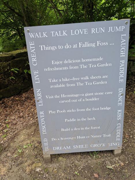 Falling Foss Tea Garden (near Whitby) - activities sign