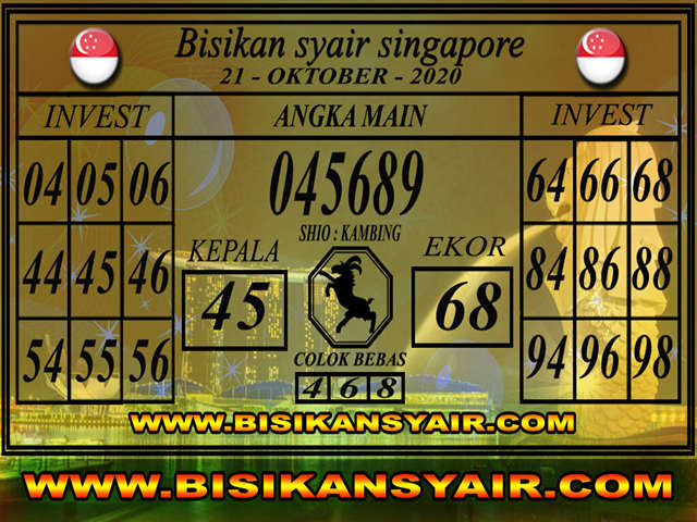 Kode syair Singapore Rabu 21 Oktober 2020 111