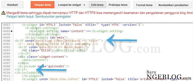 Cara Menyembunyikan Widget Blog di Tampilan Versi Mobile