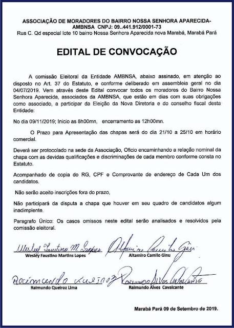 EDITAL DE CONVOCAÇÃO -- ASSOCIAÇÃO DE MORADORES DO BAIRRO NOSSA SENHORA APARECIDA -- MARABÁ/PA