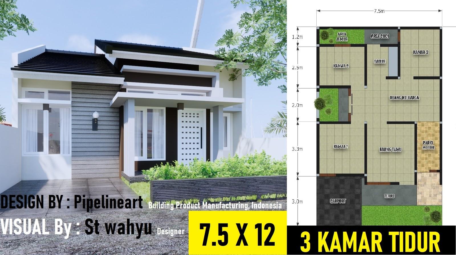 Rumah Minimalis 7 5x12 3 Kamar Tidur Desain Rumah Minimalis