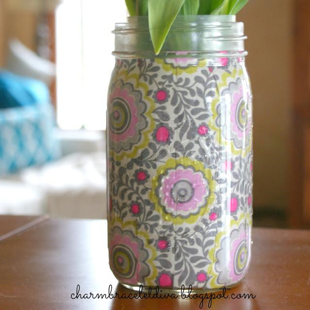 gray pink white yellow fabric mason jar