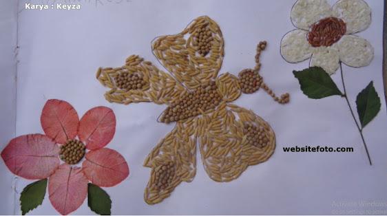 Contoh Kolase Gambar Kupu-Kupu dengan Biji Padi dan Mrica/Ketumbar