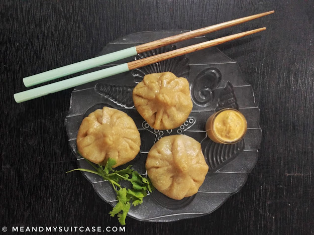 Homemade Spicy Momos and Dip - a healthy version