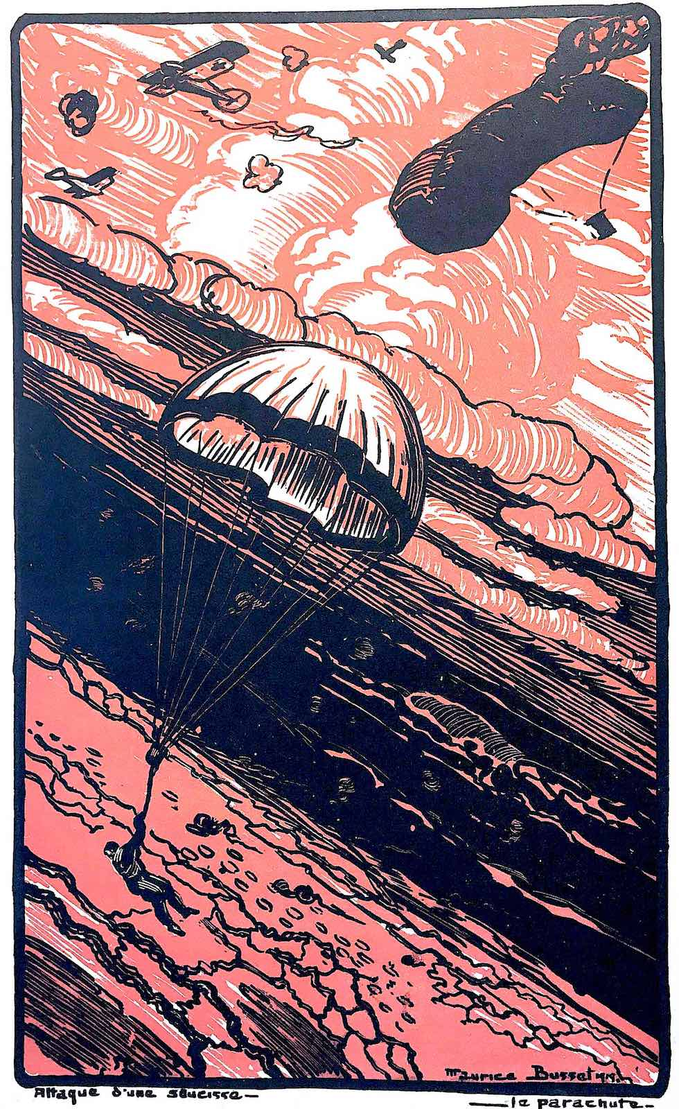 a Maurice Busset illustration of men parachuting in war