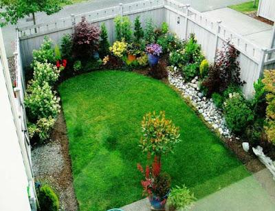 tatanan tanaman di taman depan rumah yang baik
