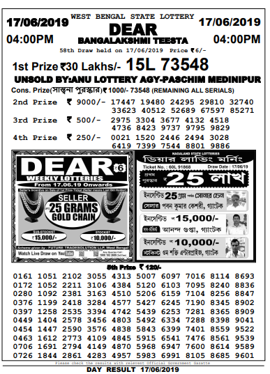 west bengal lottery Result