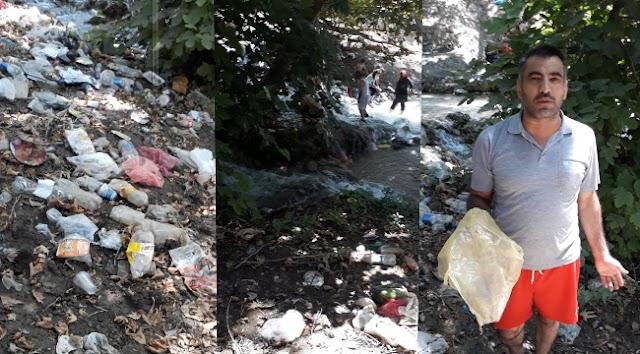 Bozovalıların sıkça gittiği şelale çöple doldu (Video)