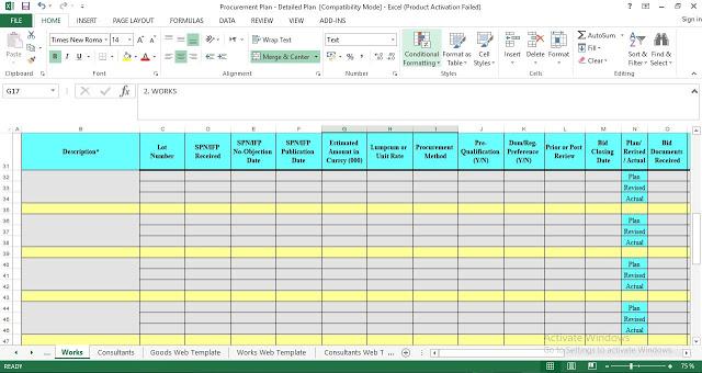 Procurement Plan Template in Excel