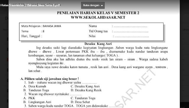 Soal Penilaian Harian K13 Kelas 5 semester 2 Bahasa Jawa Tema 8