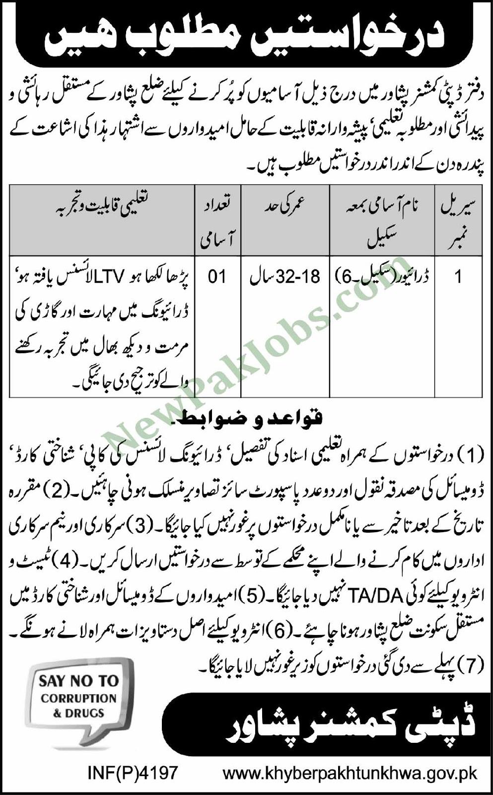 Jobs in DC Office Peshawar - November 2018