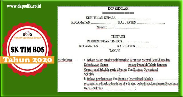 Contoh SK TIM BOS Reguler Tahun 2020 Terbaru - File Format Doc