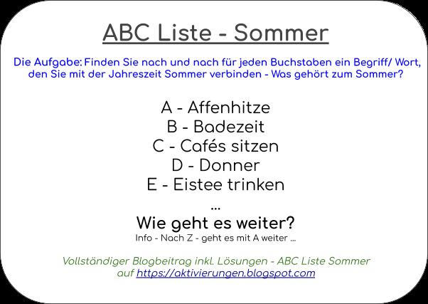 Aktivierung Sommer, Dinge Sommer, Begriffe zum Sommer, A bis Z Was gehört zum Sommer?, Betreuung von Senioren mit und ohne Demenz im Sommer