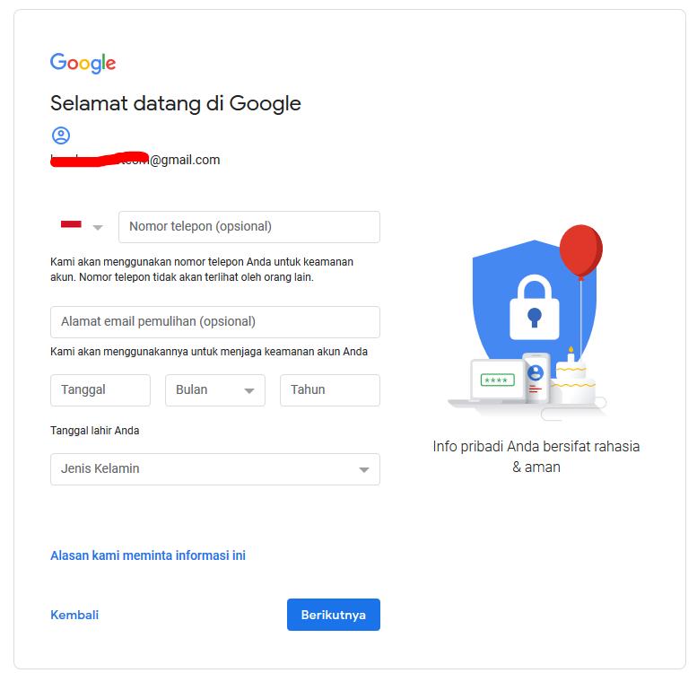 Informasi Tambahan Daftar Gmail
