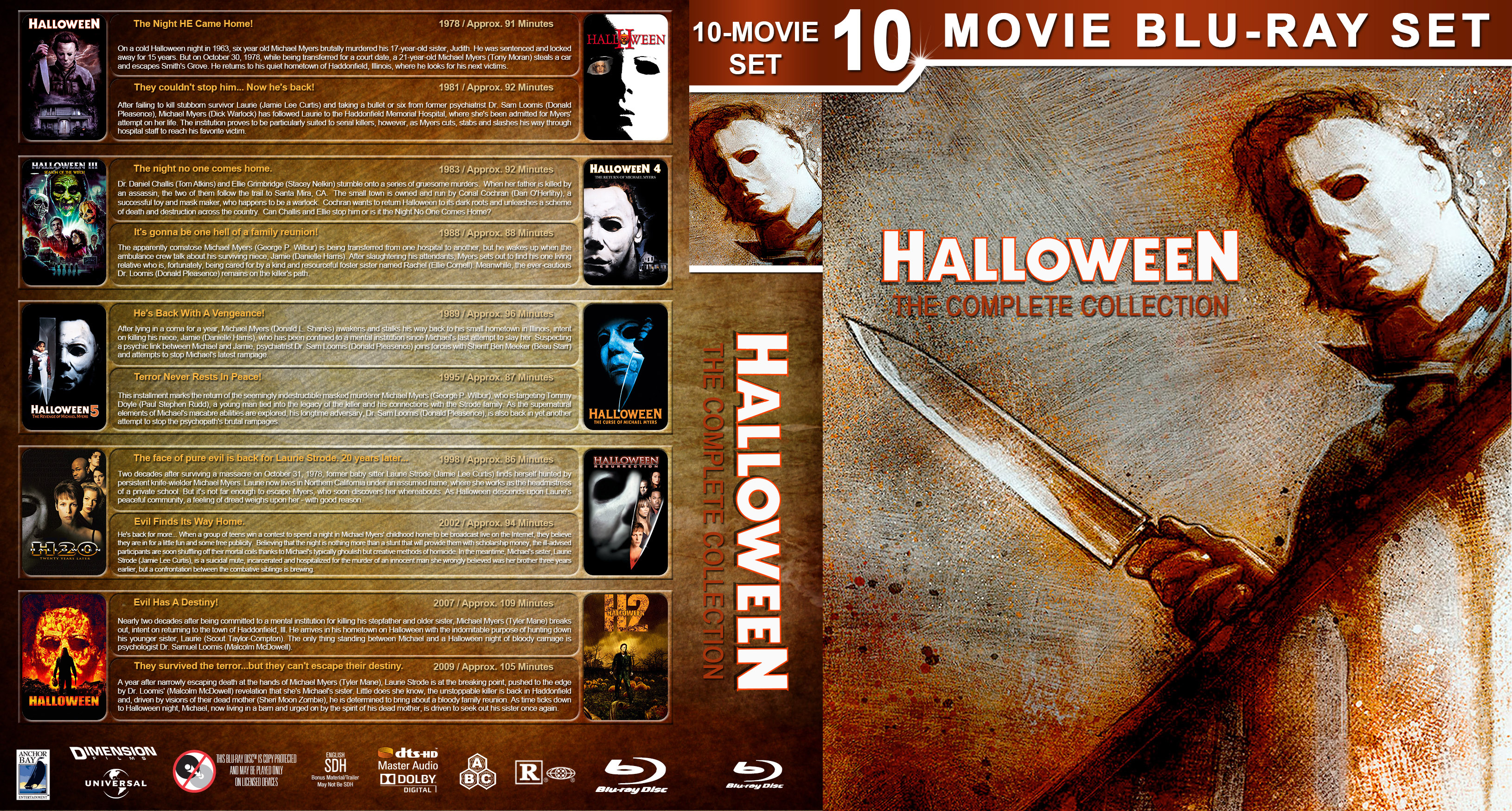 halloween: the complete collection bluray cover - cover addict - dvd