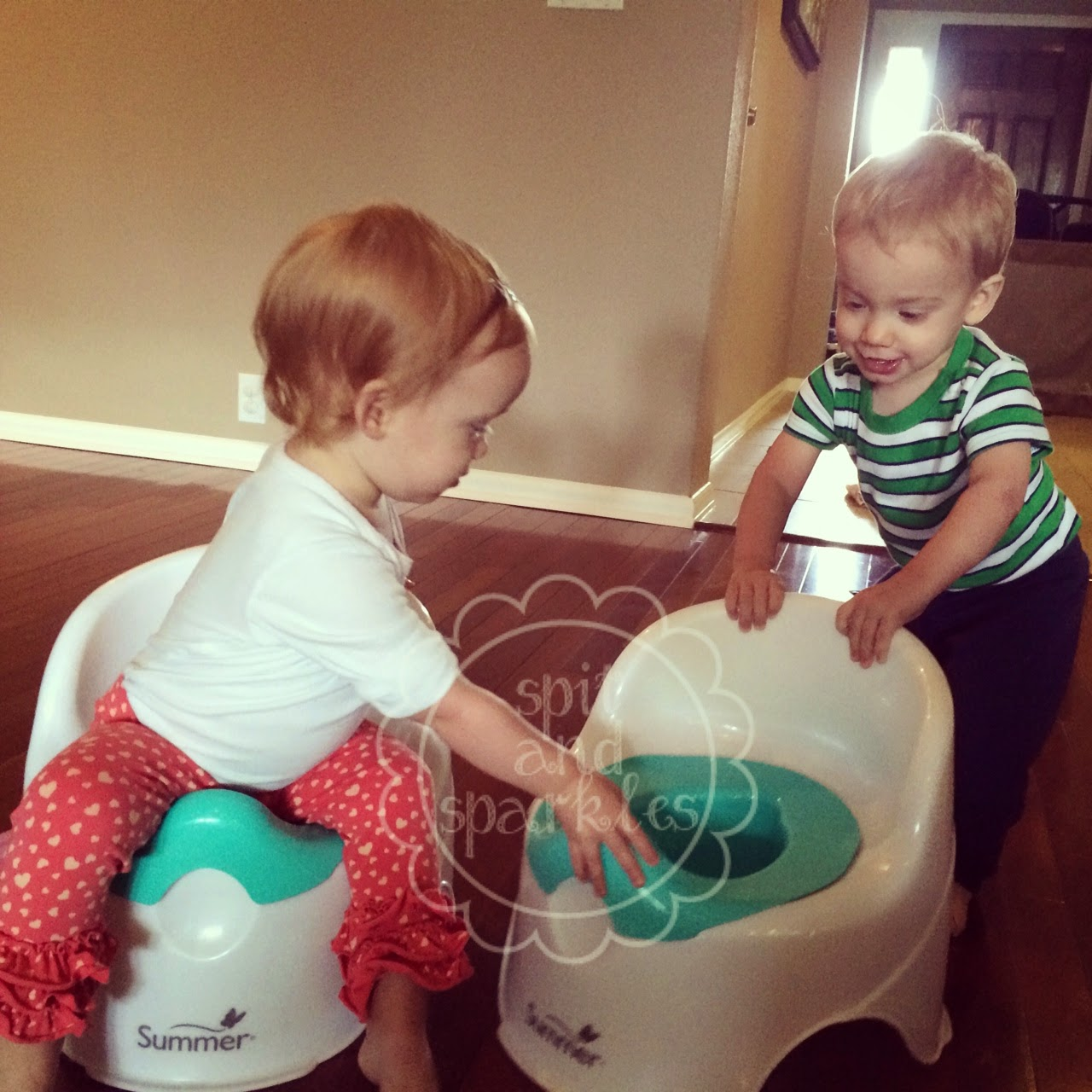 A twin mom's approach to early potty teaching by Spit and Sparkles Blog. #pottytraining #twins #earlypottytraining