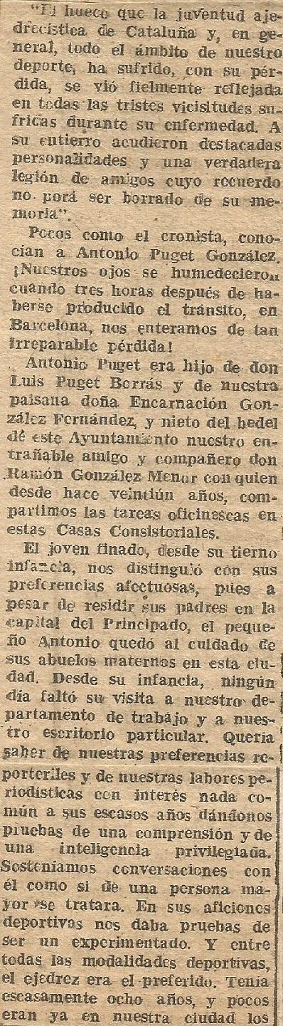 Recorte de prensa sobre Antoni Puget en Diario Español de Tarragona (2), 1959