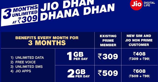 Jio Launched Dhan Dhana Dhan Offer - Enjoy Unlimited Services For 3 Months