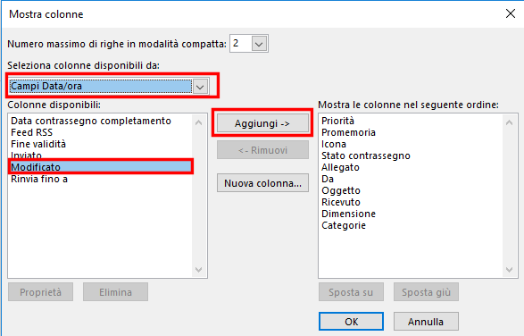 "MS Outlook, Aggiungere la colonna ""Modificato"""
