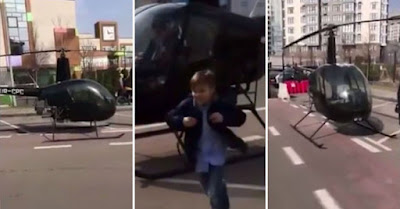 Dad does school run in helicopter after his son was late to class