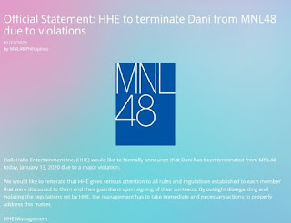 MNL48 terminates Dani contract following scandal