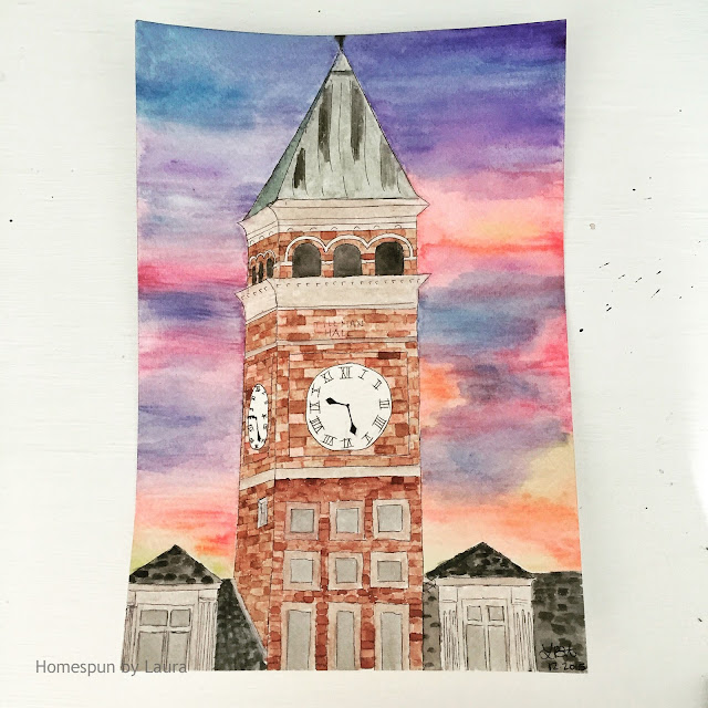 homespun by laura daily doodle clemson tillman hall sunset watercolor