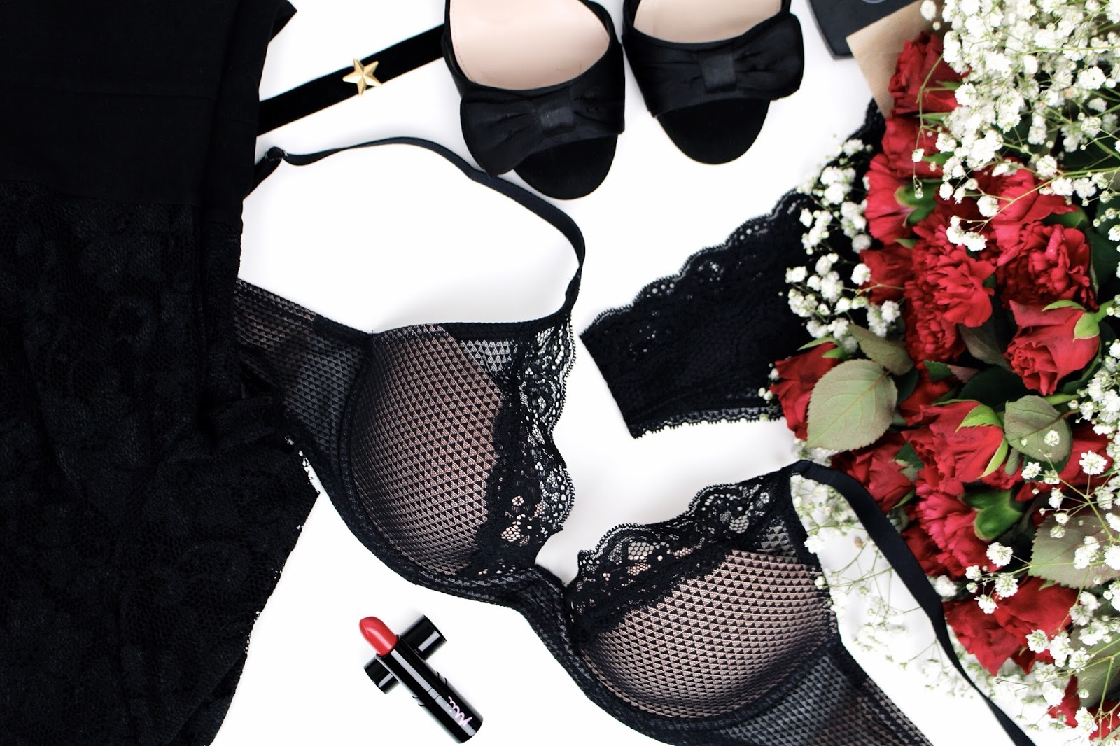 Busy and pretty lingerie underwear flatlay
