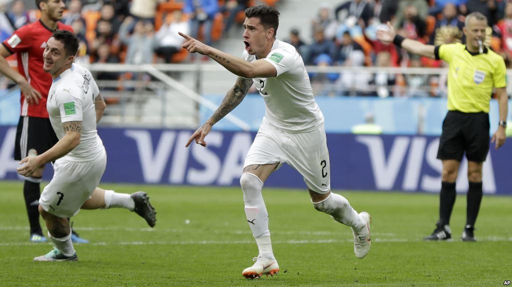 José Giménez celebra el gol de último minuto / AP