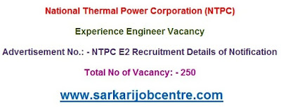 NTPC Online Form for Experience Engineer