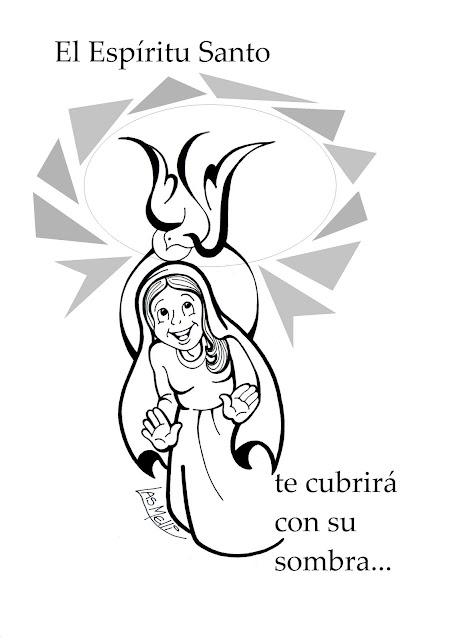 DIBUJO: El Espíritu Santo y María