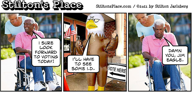 stilton's place, stilton, political, humor, conservative, cartoons, jokes, hope n' change, biden, voting, jim crow, jim eagle, race, black, georgia