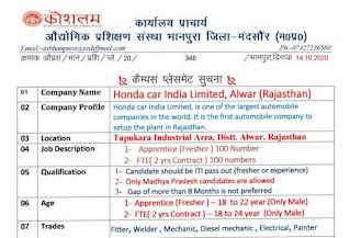 Honda car India Limited, Alwar (Rajasthan) ITI Job & Apprentice Campus Placement Interview in Govt ITI Bhanpura Distt-Mandsaur(M.P.)