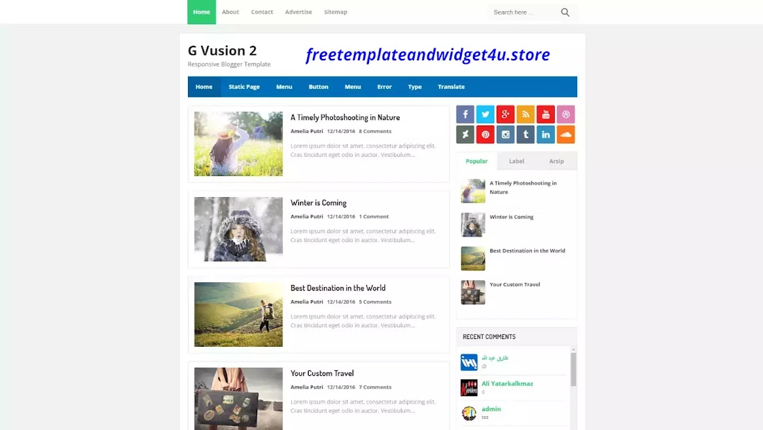 G Vusion 2 Pro Blogger Template Free Download