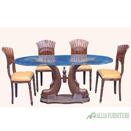 kursi meja makan ukiran model ikan