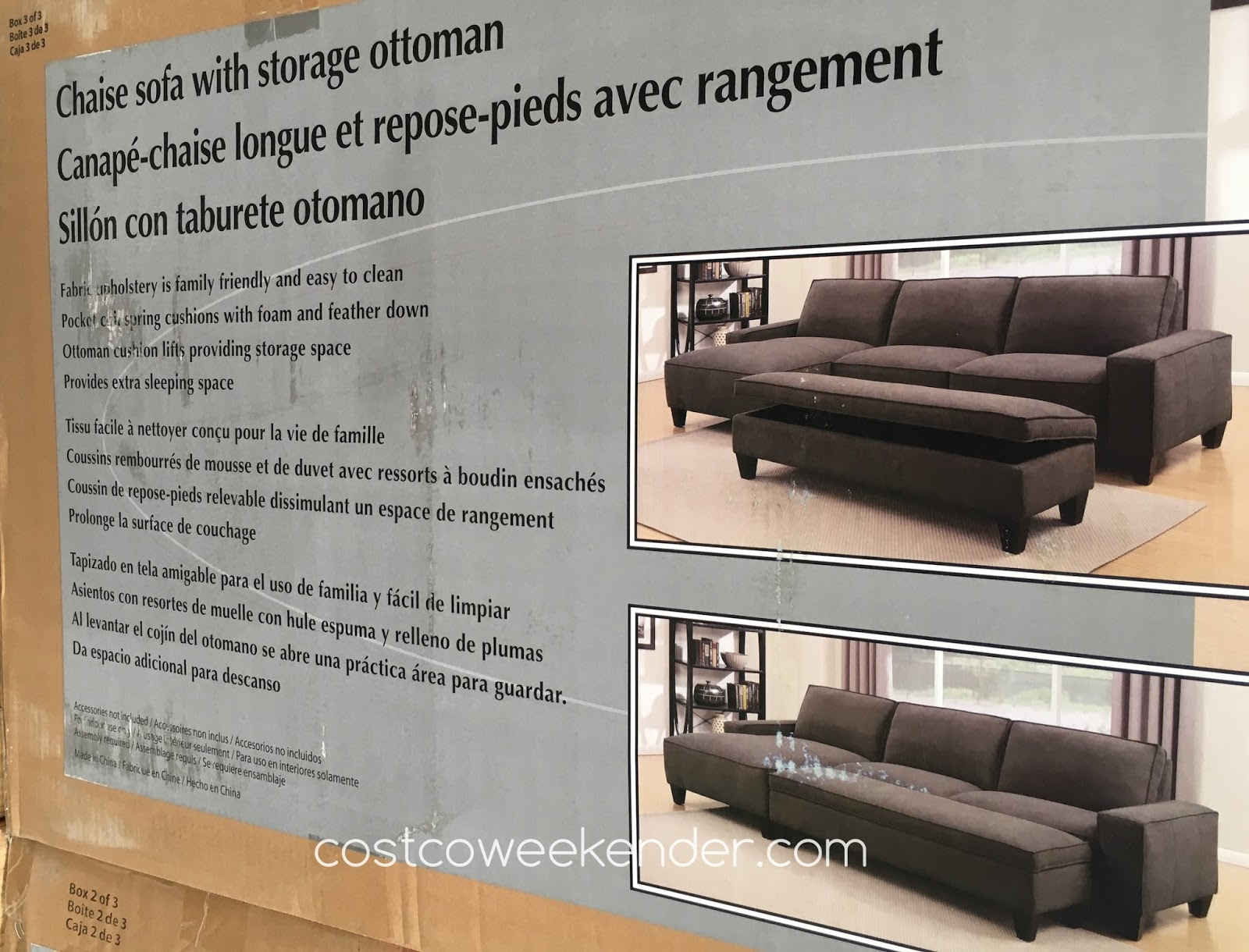 Chaise Sofa With Ottoman Costco 3 2 Seater Offers Storage Weekender