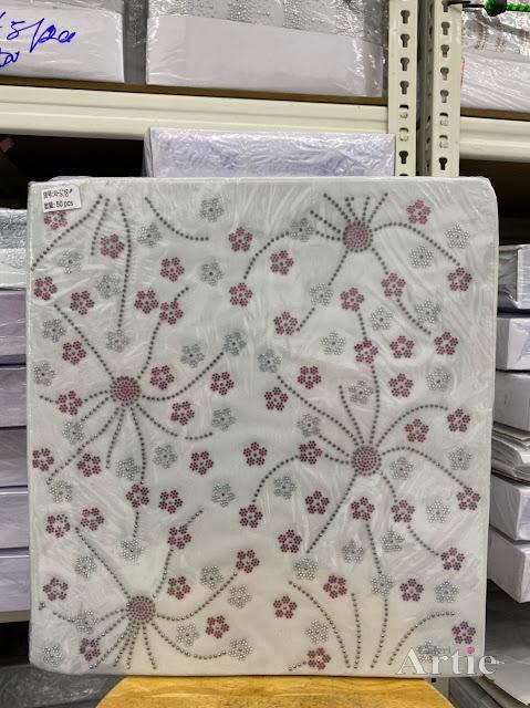 Hotfix stickers dmc rhinestone aplikasi tudung bawal fabrik pakaian bunga kecil 2 warna merah/silver