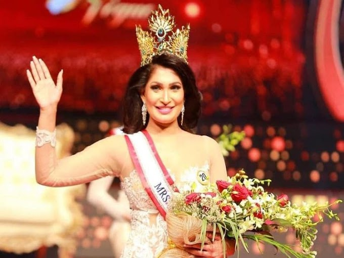 Moment Mrs. Sri Lanka lose her beauty queen crown after it's removed from her head on stage by Mrs. World over divorce claims (video)