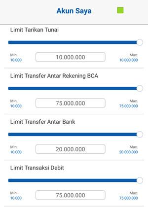 Atur Limit Kartu Debit BCA Mobile