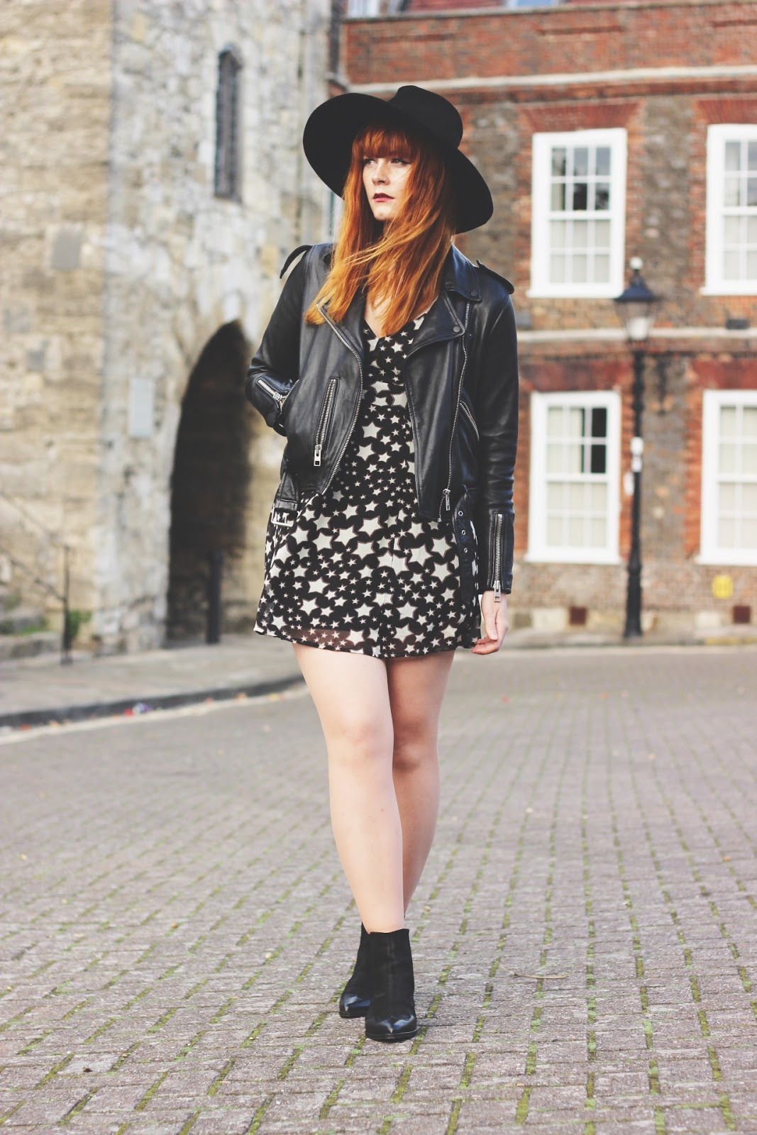 UK Vintage Fashion Blogger Red Hair Leather AllSaints Biker Jacket Star Dress