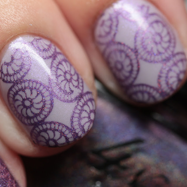 Celestial Cosmetics Orchid stamped over Celestial Cosmetics Android Tears using MoYou London Suki Collection - 04