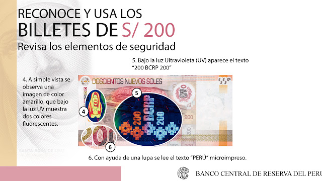 Identificar billete 200 soles falso
