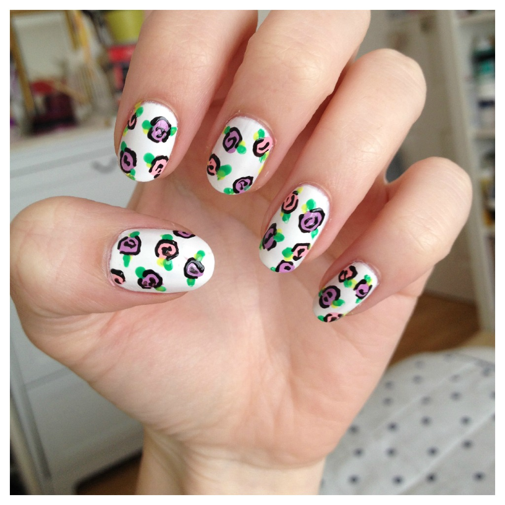 Floral Nail Art: DIY Floral Rose Nail Art: