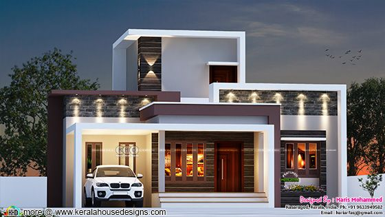 2 bedroom flat roof style modern home