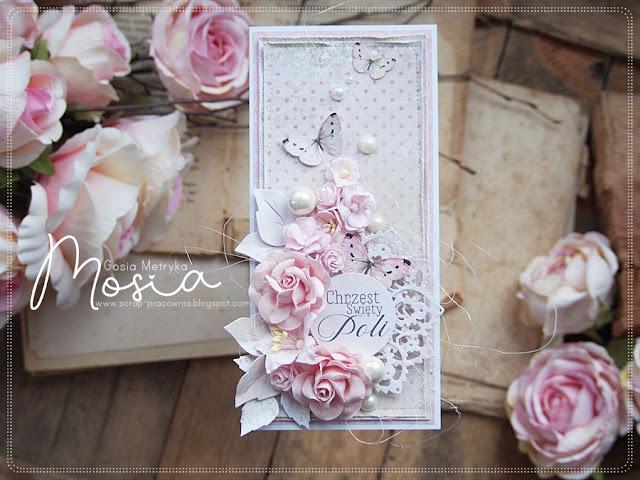 Różana kartka na chrzest